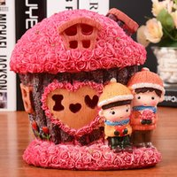 Wholesale 36 roses house seven lights piggy bank Resin Christmas doll lovers furnishing articles