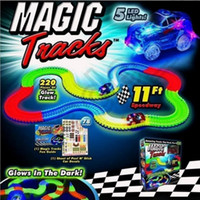 Wholesale Magic Tracks Bend Flex Racetrack for Kids Amazing Race Track Children Railcar LED Light Up Car Grows In The Dark LJJO1031