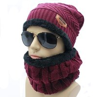 Wholesale pc set Hats Scarves Sets Warm Men Winter Hats Collars Beanie Hat Knitting Wool Hat Knitted Caps Outdoor Sport Warm