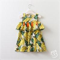 banana clothing - Summer Kids Girls Tassel Dresses Baby Girl Print Banana Dress Girl Fashion Off shoulder Dress Babies clothing