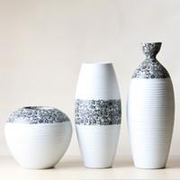 Wholesale Ceramic Porcelain Tabletop Vase Collection Set with Simple Sunflower Pattern Design G0551425