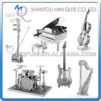 bass drum - DHL Piece Fun D musical instrument Guitar harp erhu Drum Set Piano Bass FiddleI Metal Puzzle adult models educational toy