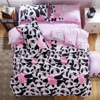 Wholesale B W Panda Bedding Set Cotton Bed Sheet bedspread Duvet Cover Set Queen King Size for Single Double Bed Panda Bedding Set