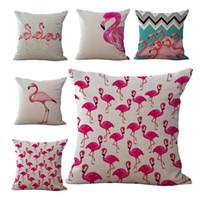 Wholesale Birds Flamingo Throw Pillow Cases Cushion Cover Pillowcase Home Sofa Square Pillow Case Pillowslip Textiles Christmas Gift