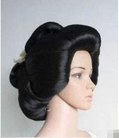 aa cosplay - gt gt gt new vogue Hot Sell Hot sell New Black Geisha Wig Full Wigs Plate Hair Anime Wig Cosplay Wig net AA
