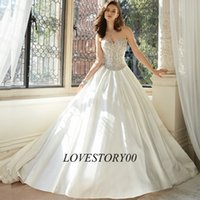 Wholesale Luxury Wedding Dress Crystal Bridal Dresses Ball Gown Wedding Gowns Custom Made Brush Train Custom Made Vestidos de Noiva
