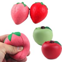 artificial strawberries - 15pcs in stock Red New Squishy Strawberry Apple Decompression Anxiety Toys Cell Phone Charms Pendant Strap Artificial Slow Rising Toy