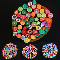 Wholesale Nail Art Decorations Fimo D DIY Fruit Christmas Flower Fashion Acrylic Polymer Clay Sticker Canes mm Styles