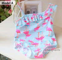 Wholesale new model cute baby girl swimwear one piece with Flamingos pattern Y girls swimsuit kid children swimming Suit sw0629