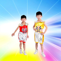 beijing opera masks - 2pcs2color children s clothing Cosplay dance performance costumes national costumes boy girl Beijing opera mask vest shorts hot sale