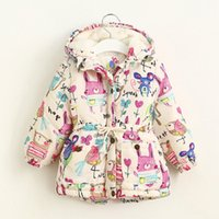 Wholesale Winter Children Outwear Baby Kids Warmth Coat Graffiti Jacket Windbreaker Fashion Floral Hoodies Outwear p l