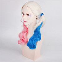 Wholesale 2017 New Hot Fashion Popular movie Suicide Squad Harley Quinn Female Clown Cosplay Halloween Anime Curly Gradient Wigs