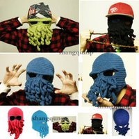 Beanie/Skull Cap Printed His-and-Hers hot sale best price Novelty Handmade Knitting Wool Funny Beard Winter Octopus Hats&caps Christmas Party Crocheted beanies unisex Gift 2007