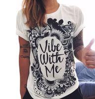 Wholesale CDJLFH Brand Summer New Fashion Women White Tops Prints T shirt Short Sleeve O neck Girl T Shirt Vestidos S M L XL XXL