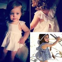 al por mayor la liga del estilo del chaleco-INS Vestido rayado de chaleco de estilo nuevo establece patrón de encaje Bowknot Top + pantalones bebés ropa infantil vestidos de princesa vestidos