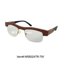 Wholesale Red sandalwood half frame optical eyeglasses with acetate temples
