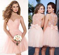 Wholesale Sweet Blush Pink Short Cocktail Dresses Sheer Neck Beaded Pleated Tulle Floral Lace Bow Lovely Prom Dresses Short Homcoming Party Dresses