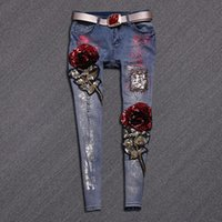 Wholesale High quality slim jeans lady elastic pencil pants elegant style tight legs jeans ripped vintage rose sequined skinny jeans B117