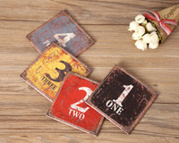 bamboo bar table - LINKWELL Set of x10cm Vintage Colourful Number Figure Black One PU Leather Bar Coaster Table Cup Holder Drink Placemat Mat