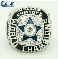 al por mayor placas cuencos-Liaobao de alta calidad rodio plateado fábrica 1971 Super Bowl VI Bowl Dallas Cowboys de moda aleación de fans campeonato anillo