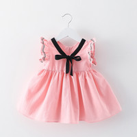 Wholesale 4 colors hot Korean styles New Arrivals baby girl fuffles sleeveless dress v enck with bow cotton infant girl dress