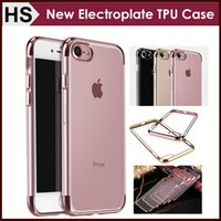 For Samsung apple iphone model - New Electroplate Transparent TPU Case For iPhone Plus S Plus Top Bottom Electroplating Soft Clear Phone Back Cover Support Mix model
