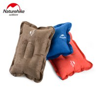 air travel comfort - Camping Compressed Folding Non slip Pillow Suede Fabric Air Inflated Pillows For Comfort Travel Outdoor Sap Carry Easy