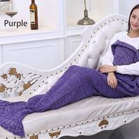 Wholesale Soft Crochet Mermaid Tail Blanket Knitted Mermaid Sofa Throw Blanket for Kid Children Girl Adults High Quality