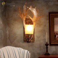 Wholesale Christmas party Wall Lamp for LED home decoration corridor lamp lampada de parede wood Antlers balcony indoor lighting led wall reading lamp