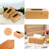 Wholesale Natural Solid Bamboo Tissue Storage Box Cover Napkin Case Holder Home Desk Decoration