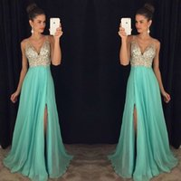 Cheap Sexy Deep V Neck Prom Dresses Sleeveless With Beads Crystal A Line Long Chiffon Formal Evening Party Gowns 2016