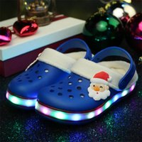 Wholesale The New LED Lights Indoor Slippers Santa Claus EVA Hole hole Children Slippers