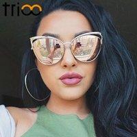 achat en gros de lunettes de soleil en métal-Vente en gros-TRIOO Lunettes de soleil de haute qualité Cat Eye Femmes Gold Metal Oculos de sol Réflectives Lunettes de soleil Pink Summer Vintage Sexy Shades