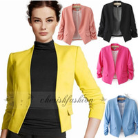 Wholesale New Spring Women s Fashion Korea Candy Color Solid Slim Suit Blazer Tops Ruched Sleeve Thin Coat Jacket Z611 B