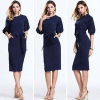 Casual Dresses Bodycon Dresses Summer 2017 Hot Dark Navy Women Office Dresses Half Sleeves Knee Length Clothing Women Work Wear Casual New Design Plaid Patchwork Dress FS0367