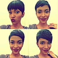 Indian hair Straight Rihanna's Hairstyle New African American women short Hairstyle Wig Synthetic Blaco or Dark Brown color wig, Pixie Cut short Curly hair Full wigs for Male Peruca