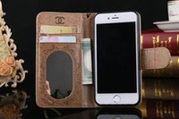 Wholesale Light Leather Wallet For Iphone S Plus S SE Samsung S7 S6 Luxury Flip Cover Case With Credit Card Holder Stand