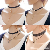 Chokers adjustable tattoo - New Multi Layer Tattoo Choker Necklace Charm Long Tassel Adjustable Pendants Necklaces for Women Black Lace Chokers A298