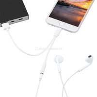 Wholesale 2 in headphone charging adapter for iPhone converter cable lighting male to mm aux audio and chargng usb cable converter