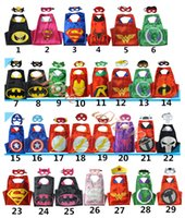 Wholesale 2017 new style fashion double sides kids capes with masks for Halloween party role play costumes
