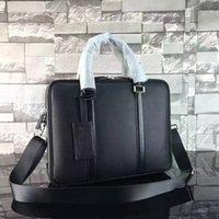 Acheter Sac d'affaires-Nouveau célèbre designer en cuir véritable BRIEFCASE Sacs d'affaires sac à main de haute qualité deux zipper pour mâle 240