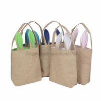 Wholesale 14 styles Burlap Easter Bunny Ear Bags DIY Embroider Cotton Linen Basket Bag Easter Gift Packing Handbags For Children Festival Bag EHB01