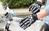Wholesale Skeletons Motorcycles - Ghost claw Full Finger White Skeletons Motorcycle Protective Gears bicycle Wearable Microfiber antiskid Gloves for Racing Hunting Cycling