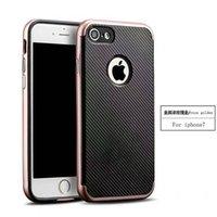 Moda 2 en 1 fibra de carbono resistente pesado parachoques marco piel de la cubierta del caso para iPhone 7 iPhone 7 Plus caso de lujo