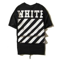 Wholesale Summer Men Off White Stripe T shirt cotton Short Sleeve Abloh kanye West Hip Hop Tees T Shirt Camisetas Hombre
