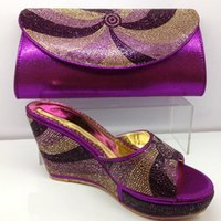 bags purple crystal - New arrival fashion Italian shoes and bag set women wedges open toes dress shoes with crystal in purple