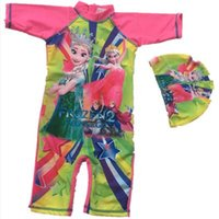 One-piece baby sun block - Frozen Girls Swimsuits Swimming Cap Set High Quality Elsa Princess Sun Block Surfing Wetsuits Baby Kids King Surfer Beach Bath Swimwear