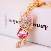 Wholesale Lucky Cat Smile Cat Keychains Crystal HandBag Pendant Car Key ring Purse Bag Buckle key chain Christmas Gift
