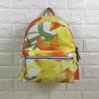 Wholesale new yellow floral print fashion good quality lady backpack