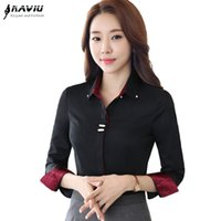 Wholesale Fashion clothes OL women long sleeve shirt black white slim Patchwork Sequined cotton blouse office ladies plus size formal tops